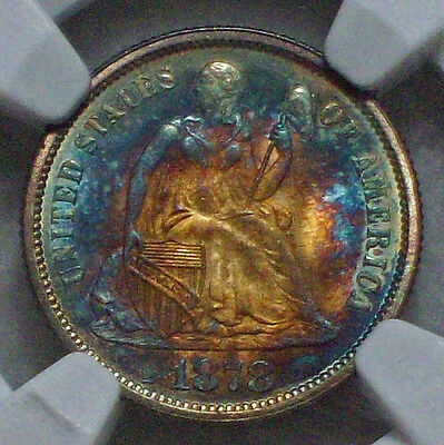 Click now to see the BUY IT NOW Price! 1878 DIME NGC MS 67  STAR GORGEOUS RAINBOW TIED FINEST KNOWN F 102 TYPE 2 REV.