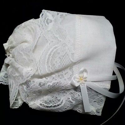 (Vintage Baby Infant Lace Cap HARTLAND Specialties White Fabric Lace Edge 1980)