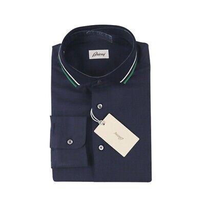 $625 NWT BRIONI Indigo Blue Green Extrafine Cotton Knit Collar Button Up Shirt M
