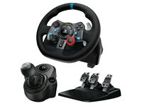 Logitech g29 steering wheel controller and PlayStation evolution gaming chair racing simulator rig