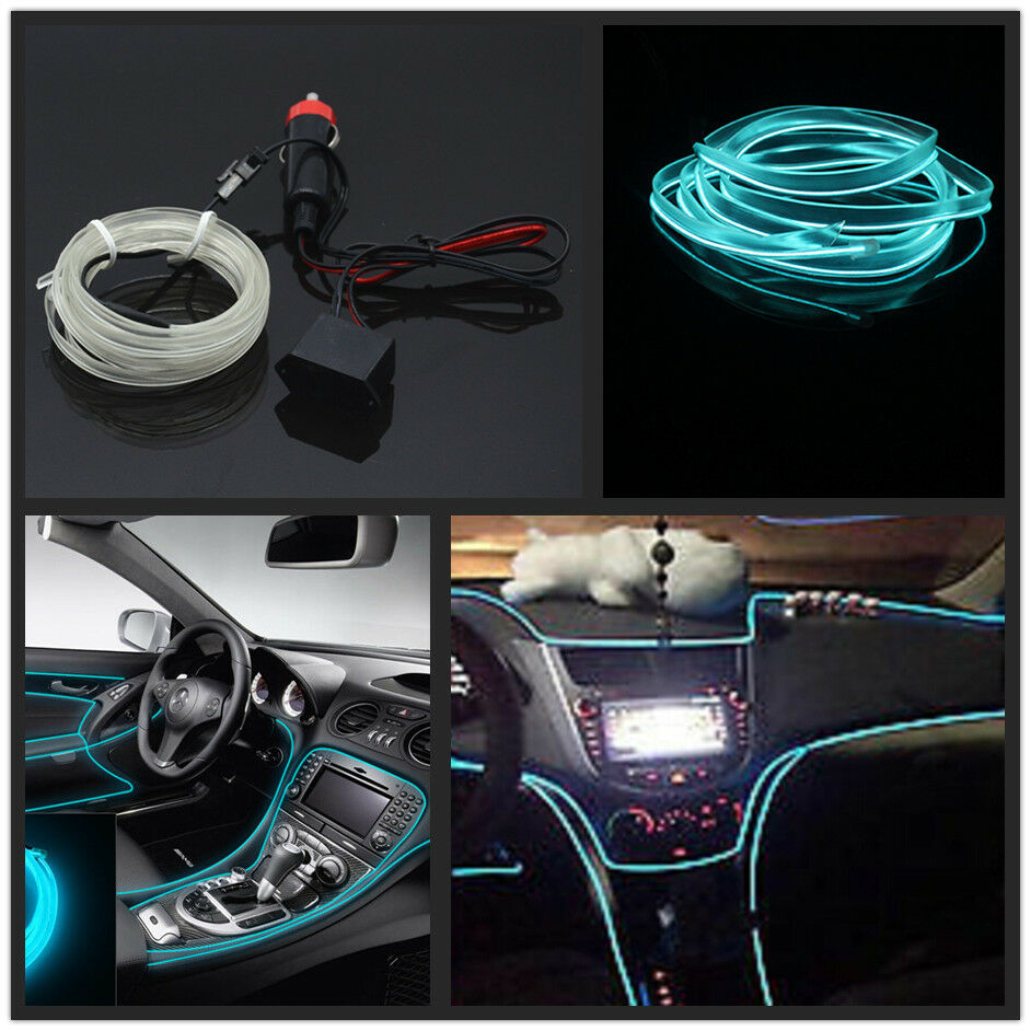 Car Ice Blue 6.5Ft Panel Trim Light Cold EL Neon Lamp Atmosphere Glow OLED Strip