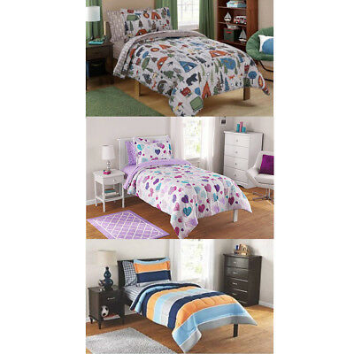 DCP Kids Bed in a Bag Complete Set Twin Full (Rugby Stripe/Plaid/Hearts ) ()