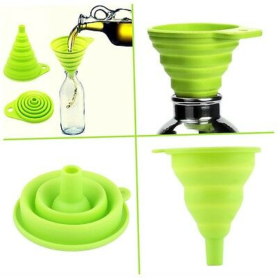 New Mini Silicone Gel Foldable Collapsible Style Funnel Hopper Kitchen Tool vL ()