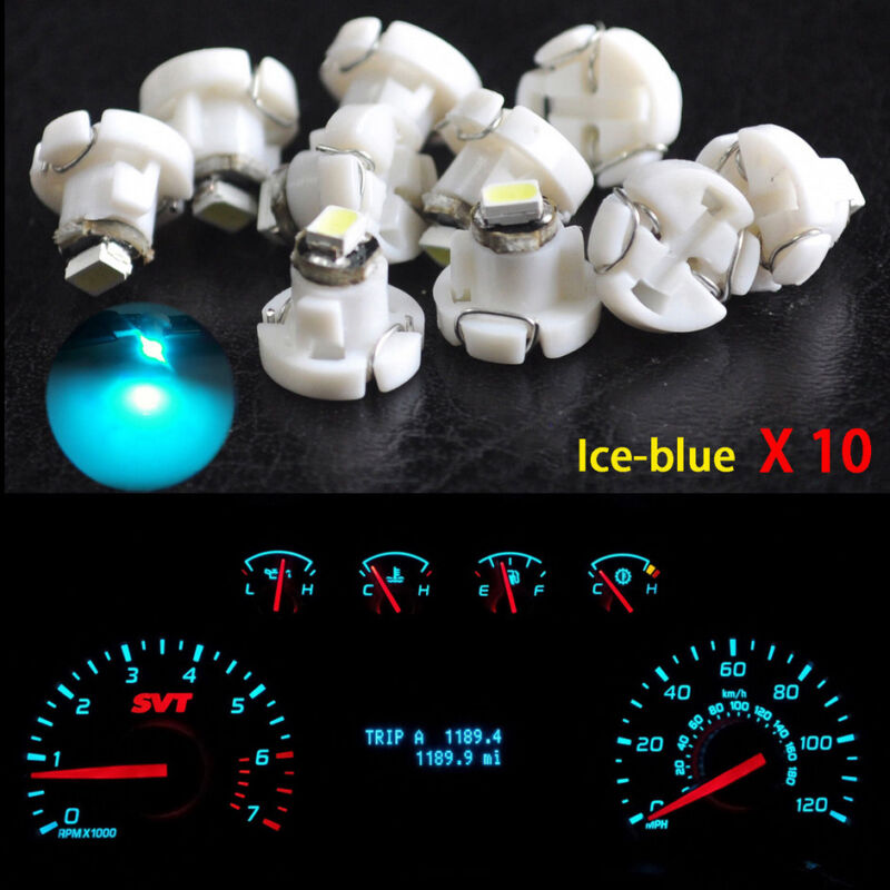 10x Ice Blue T4 T4.2 Neo Wedge 1-SMD LED Cluster Instrument Dash Climate Bulbs