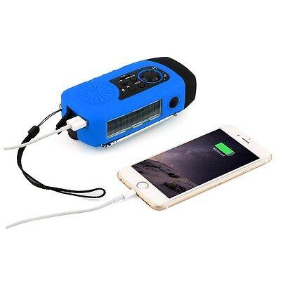 Kurbelradio AM FM Radio Taschenlampe Solarradio USB MP3 tragbar Wasserdicht Blau Tragbare Wasserdicht Mp3