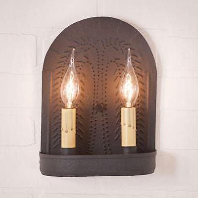 Primitive new textured black double wall sconce w/punch willow design / Nice