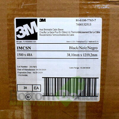 3m Imcsn-1500-48a 80-6106-7763-7 20case 4ft Heat Shrinkable Cable Sleeve Black