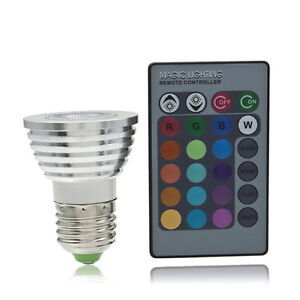 5W E27 Multi Color Change RGB LED Light Bulb Lamp with Remote Control SH