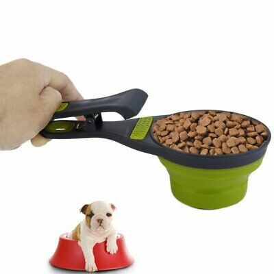 Foldable Silicone Pet Dog Sealing Clip Collapsible Measuring Cup Food Scoop#^