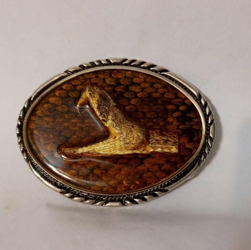 Vintage SSI Diamondback Rattlesnake Head Hand Crafted Belt Buckle
