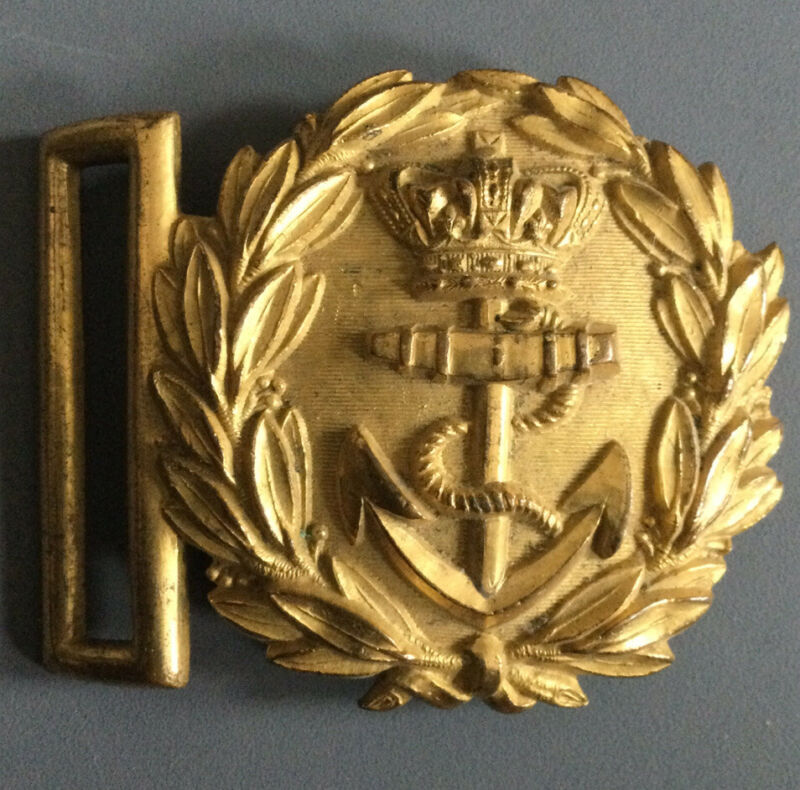 Victorian British Royal Navy Officer's Brass Belt Buckle, Anchor And Crown Gold