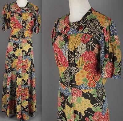 VTG 1930s AS-IS Floral Cotton Crepe Maxi Dress Glamour 30s #1608 Sz M