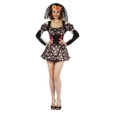 Women's DAY OF THE DEAD DARLING COSTUME - Size 12 Outfit - Halloween Fancy (Darling Womens Kostüme)