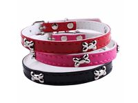 Pet, small dogs cats bone leather collar