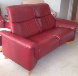 Red leather Stressless sofa