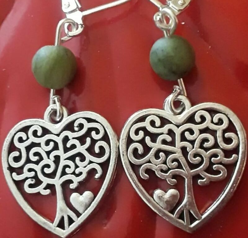 STERLING SILVER FILLED TREE OF LIFE HEART GREEN CONNEMARA MARBLE LEVER EARRINGS