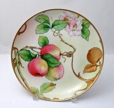 Ginori Italy Hand Painted Plate Signed K Pinelly, Apples Blossoms Nouveau Border