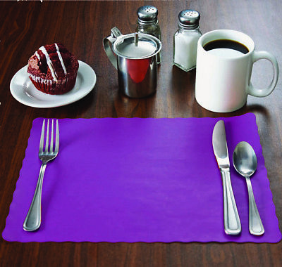 500 Raise® Purple Paper Placemats, Scalloped Edge,10