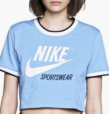 Nike Womens Sportswear Archive Crop Top Aa1184 471 Lite Blue White Navy Sz Med