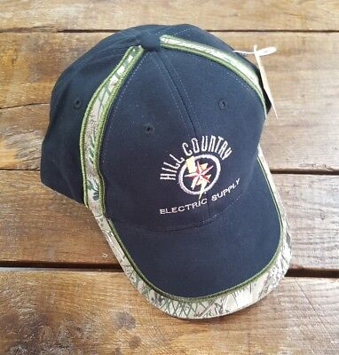 HILL COUNTRY ELECTRIC SUPPLY Baseball Cap Hat Camo Black Adjustable Strap NEW!