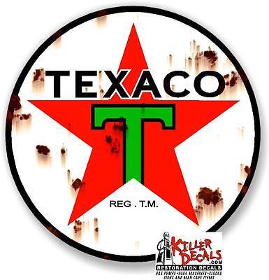 """18"""" rusty looking PRE WAR TEXACO DECAL STICKER MAN CAVE (TEXA-8R)"""