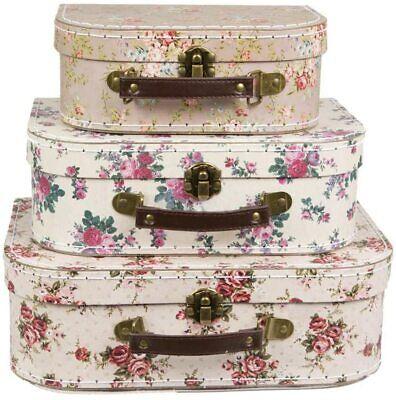 Sass&Belle Conjunto De 3 Rosa Vintage Estilo Maletas S Cajas Almacenaje Suit