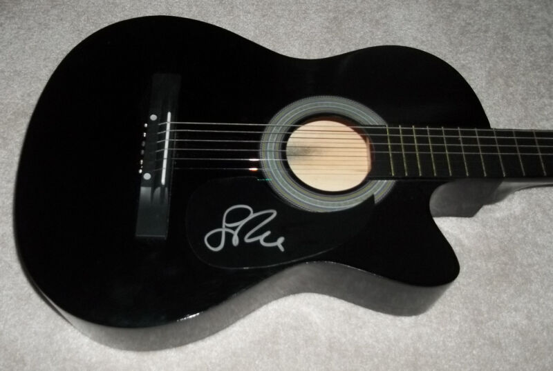 LEON RUSSELL HAND SIGNED AUTHENTIC AUTOGRAPH F/S ACOUSTIC BLACK GUITAR w/COA