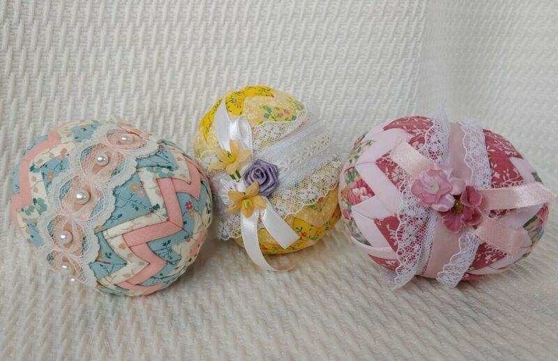 Set of 3 Vintage Fabric and Lace Easter Eggs