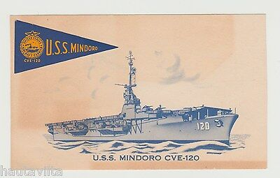 USS Mindoro CVE120 Escort Aircraft Carrier Color Business Card 1950s Planes USN