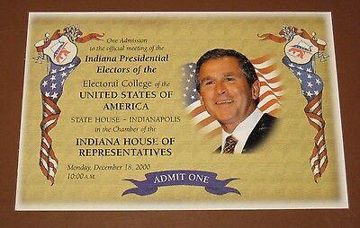 2000 PRESIDENTIAL ELECTORAL COLLEGE INDIANA GEORGE W BUSH TICKET Inauguration