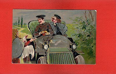 Published PFB 5999, Lady selling Goose to couple in old open car, lap robe