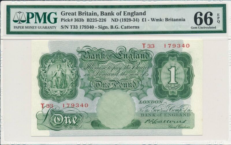 Bank of England Great Britain  1 Pound ND(1929-34)  PMG  66EPQ