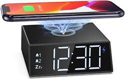 Digital LED Alarm Clock Wireless Charging Radio Dual Alarm Clock with Bluetooth
