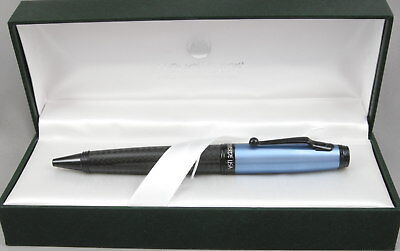 Monteverde Invincia Carbon Fiber & Anodized Blue Cap Ballpoint Pen - New
