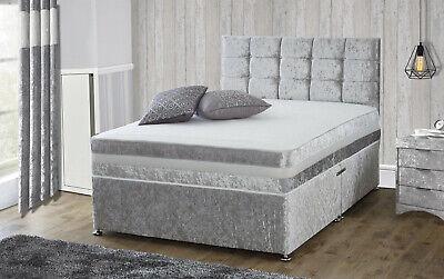 CRUSHED VELVET DIVAN BED + MEMORY MATTRESS + HEADBOARD 3FT 4FT6 Double 5FT King