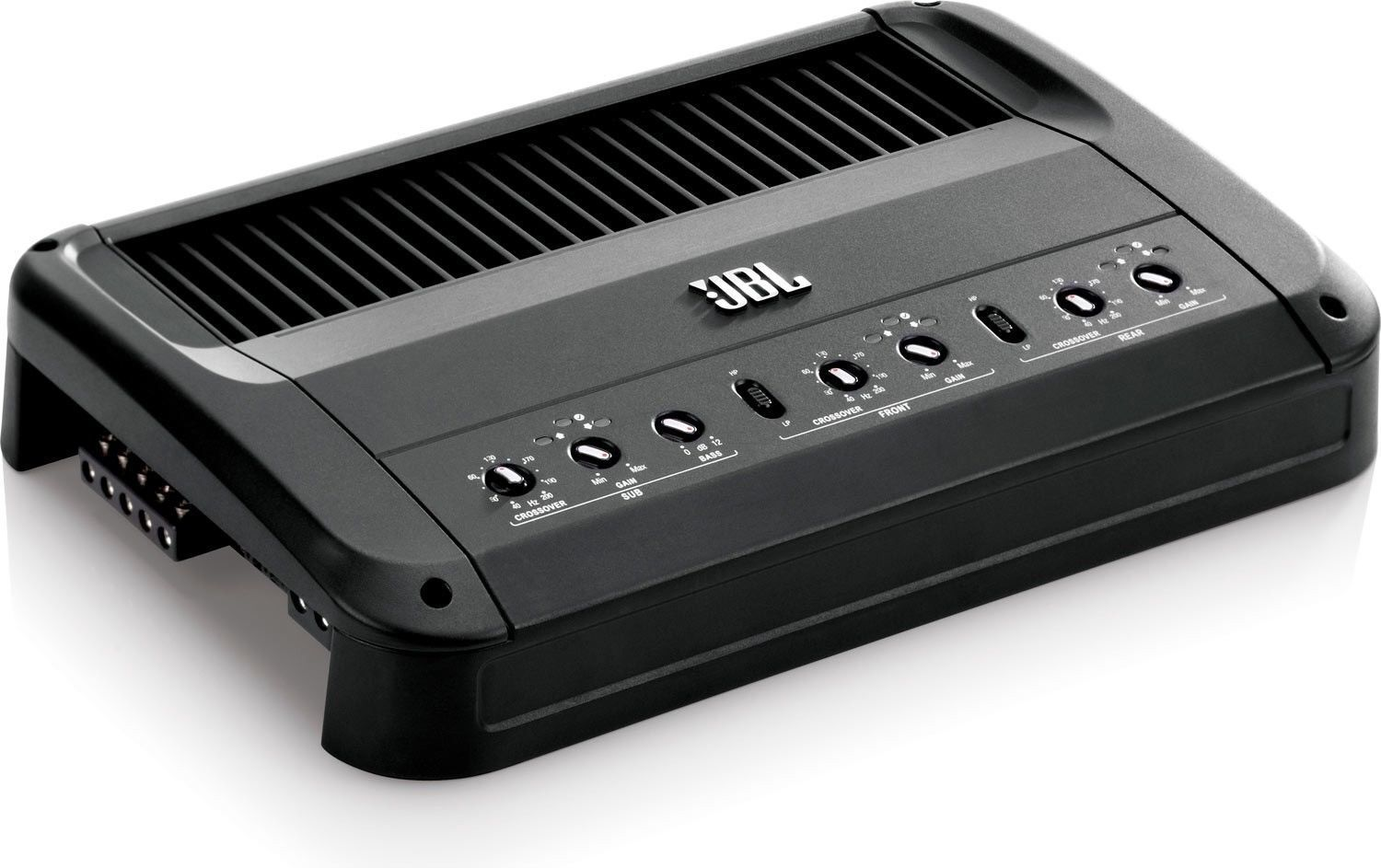 Power your front rear and subwoofer speakers with one amplifier by selecting the 5 channel jbl gto 5ez with a peak power of 1 935 watts and a