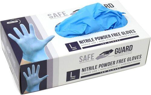 100/box Blue Nitrile Gloves Powder & Latex Free Exam Grade Gloves [S M L XL]
