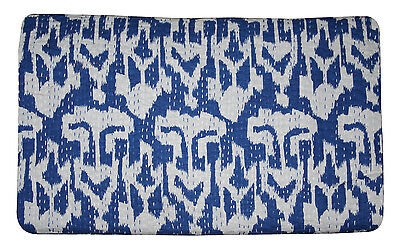 Kantha Quilt Queen Size Blue Ikat Throw Ikat Blanket Quilt Bedding Bed Cover  for sale  Shipping to India