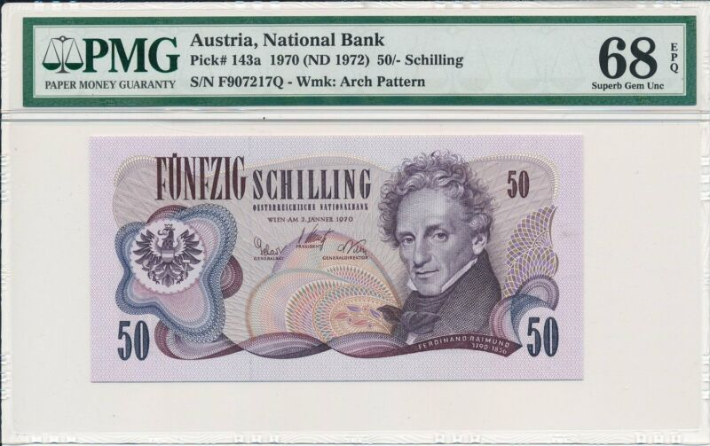 National Bank Austria  50 Schilling 1970  PMG  68EPQ