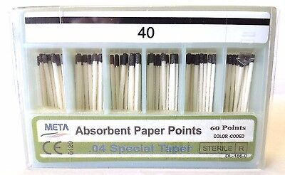 40 Dental Absorbent Paper Points .04 Taper 10x Of 60pack 600 Pcs By Meta