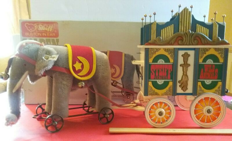 Steiff Golden Age Of The Circus, Elephant W/ Calliope Wagon, Org Box & COA, Lmtd