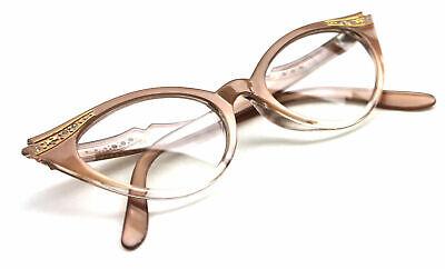 Cat Eye Nerd Brille Pearl Klarglas pastell braun transparent Rockabilly #63A