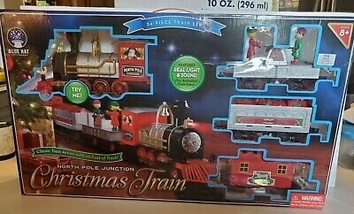 Train Set North Pole Junction Christmas, 34 Piece + 20 Feet of Track Blue Hat