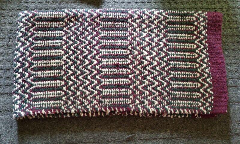 "Heavy Wool Blend Woven Saddle Pad Chair Blanket Burgundy White Green 32""x 60.5"""