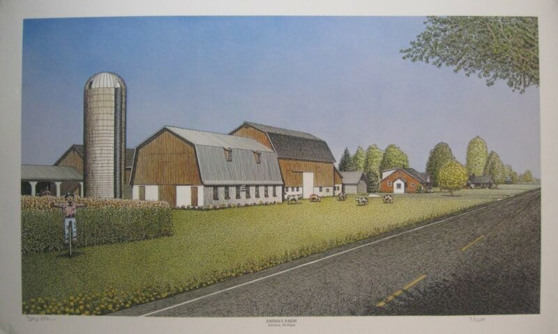 "Original Signed & Numbered Print ""Emma's Farm"" by George Rosu With COA"