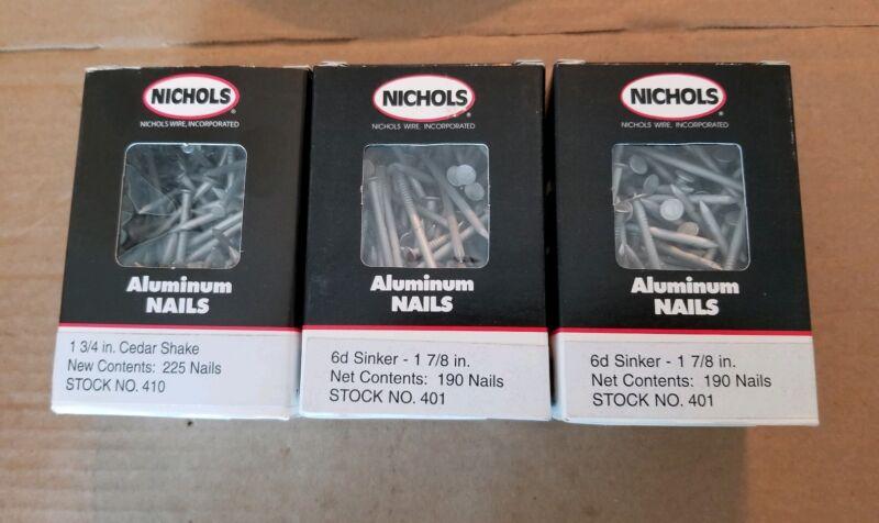 """Nichols Aluminium Nail Lot of 3 Boxes, 1 3/4"""", 1 7/8"""", 605 Total Nails, NOS"""