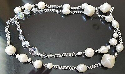 Licht-halskette (Vtg Lang Silberfarben Faux Perlen und Polarlicht Halskette - ohne Vorzeichen)