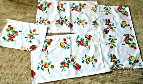 Vintage Feedsack Fabric Tea Towel  Fruit/Apples/Cherries-Lot 4 pcs