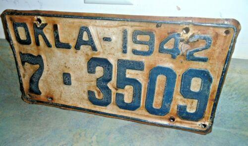 1942 Oklahoma License Plate #7-3509