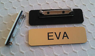 Name Badges 2.5x0.75 Gold -black Letters Corners Rounded W Pin Attachment
